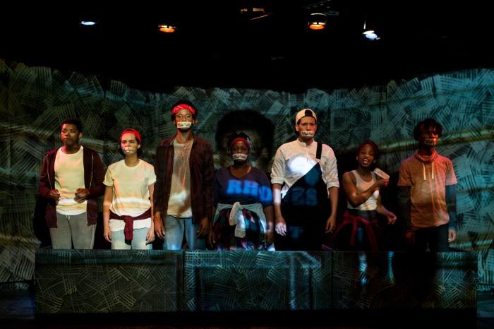 Oarabile Ditsele, Ameera Conrad, Sizwesandisile Mnisi, Tankiso Mamabolo, Cleo Raatus, Sihle Mnqwazana of The Fall, pic by Oscar O' Ryan